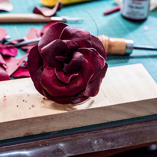 Wired Leather Rose, create, workshop,