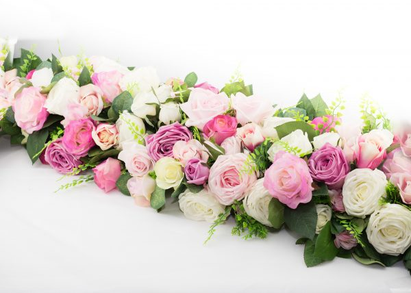 Wedding Table Decorations, table runner, artificial flowers, roses, white, pink, mauve