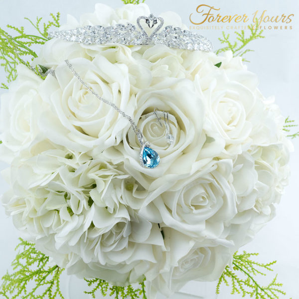 Handmade Real Touch Bridal Bouquet white roses, wedding