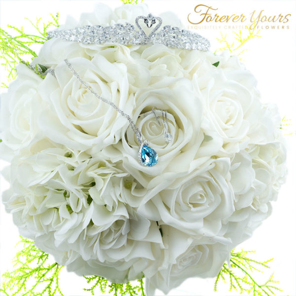 Competition Bridal Bouquet, blue crystal, swarovski, real touch white roses, wedding