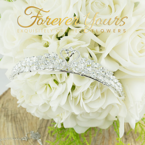 Swarovski Crystal Tiara with Swans and bouquet, wedding, bride, white roses, artificial flowers