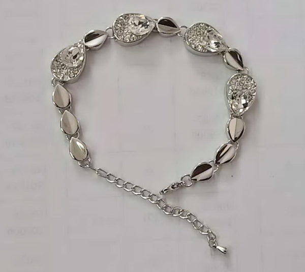 Silver Crystal Bracelet with Chain Fastener, pear shaped, bride, wedding jewellery, extender