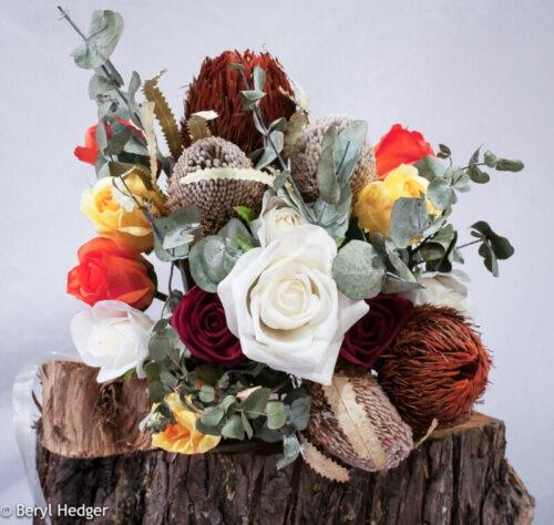 Artificial wedding flowers, banksia, bottlebrush, gum tree, eucalyptus leaves, bush, Aussie