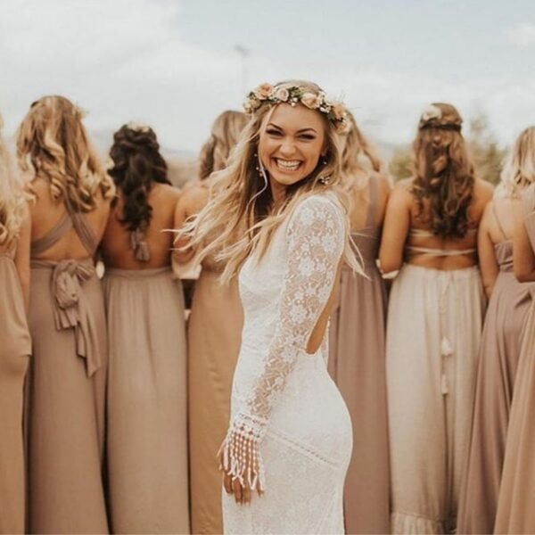 Boho dress, lace, bride, flower crown