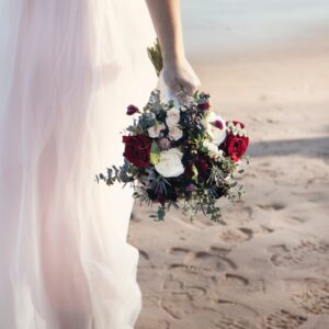 barefoot, bride, wedding dress, wedding, bouquet
