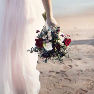 barefoot, bride, wedding dress, wedding, bouquet