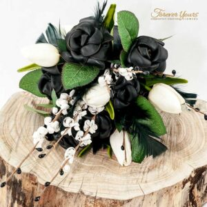 wedding flowers, black leather roses, tulips, artificial, silk, feathers