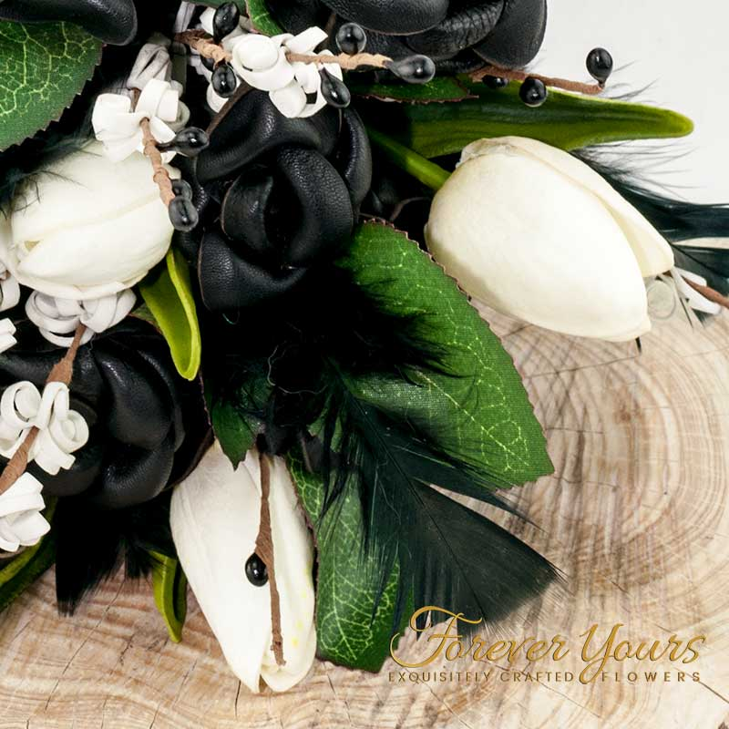 Black Leather Rose Bridal Bouquet