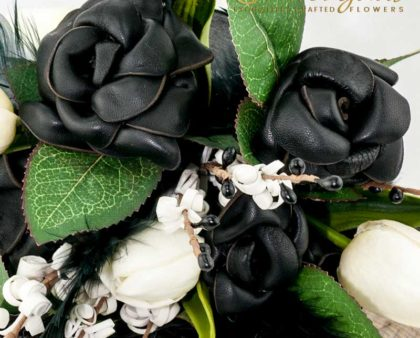wedding flowers, black leather roses, tulips, artificial, silk, feathers, bouquet