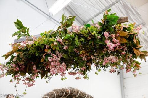 Roof installation, hanging flowers, wedding decoration, reception decor