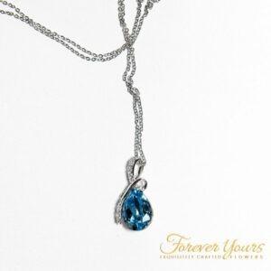 Blue Drop Pendant Necklace, Silver