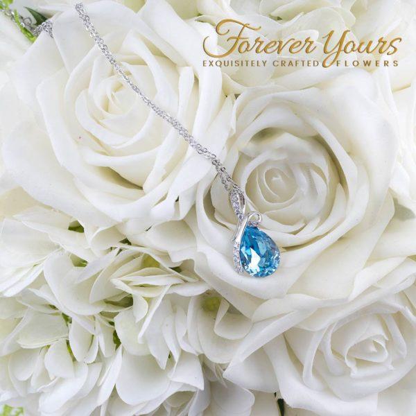 Blue Drop Pendant Necklace, silver pendant
