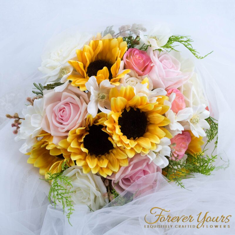 sunflowers, artificial flowers, silk flowers, real touch, wedding
