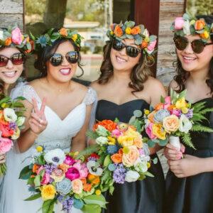 Design by PRISCILA VALENTINA, flower crowns, bridal party, girl squad