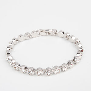 Crystal Silver Halo Link Bracelet, casual, bride, gift, wedding, bridesmaid, tennis