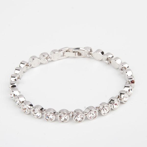 Crystal Silver Halo Link Bracelet, casual, bride, gift, wedding, bridesmaid, tennis