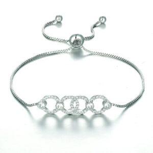 Silver Linear Chain Bracelet, adjustable, wedding, bride, Dior design, gift