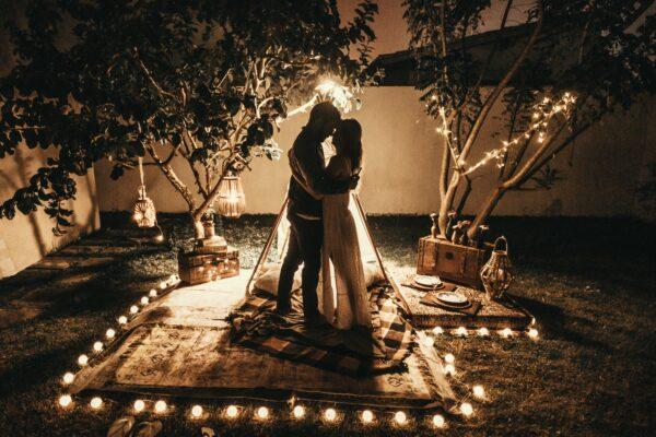 Wedding decor, backyard wedding, fairy lights