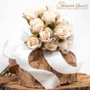 Cream/Pink Silk Childs Bouquet, artificial wedding flowers