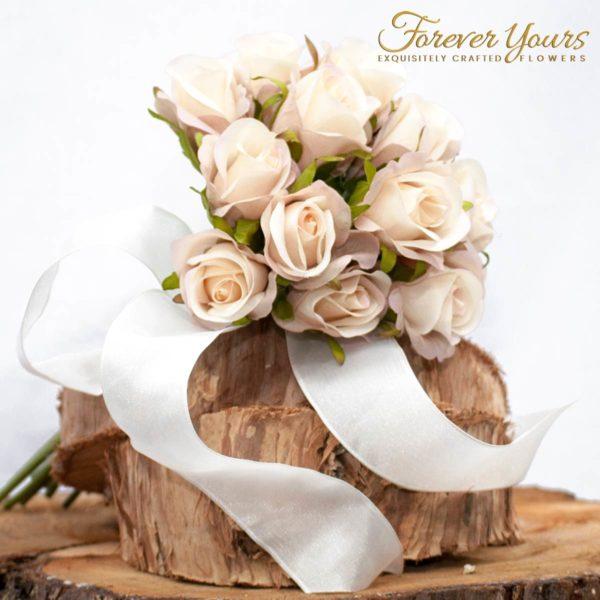 Cream/Pink Silk Childs Bouquet, artificial wedding flowers