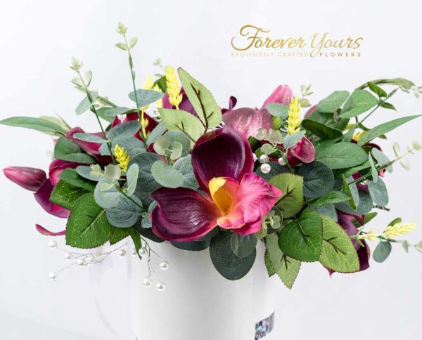 Dasher Plum Tulip, Lily & Orchids
