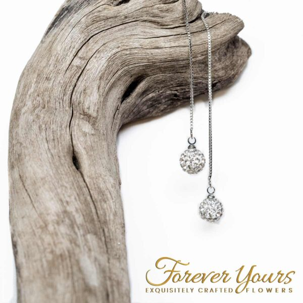 Silver Drop Chain Earrings, disco ball,