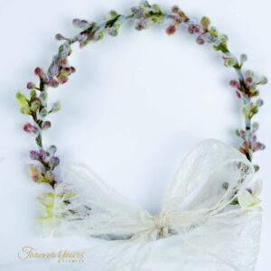 Artificial Flower Crown with lace ribbon