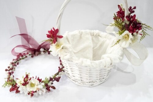 Flower girl, flower crown, flower girl basket, flower basket, wreath, artificial flowers