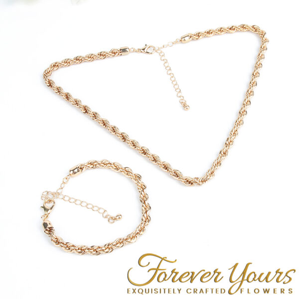 Gold Necklace & Bracelet Set, Singapore style chain