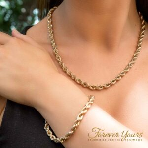 Singapore Gold chain Necklace and Bracelet