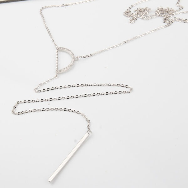 Silver Lariat Necklace, solid silver bar pendant, rhinestones, white crystals