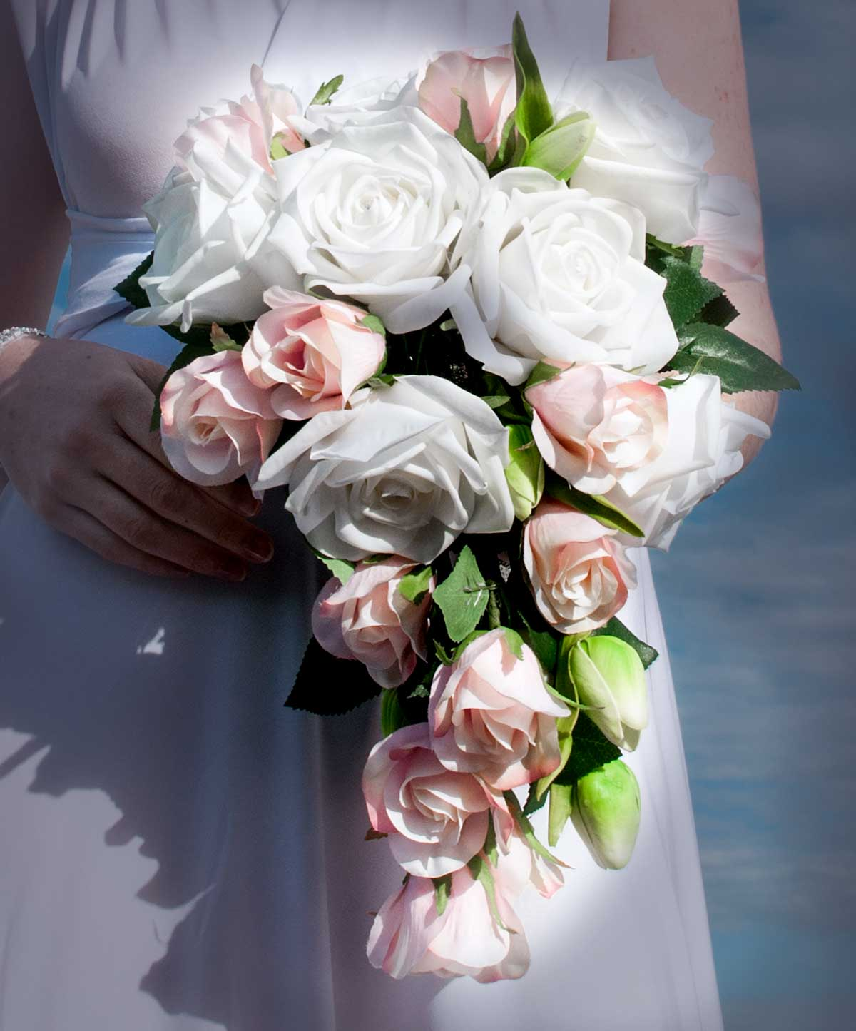 Laura Cascading Bouquet, wedding, pink and rose, buds, artificial flowers