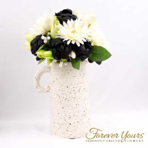the Olpe jug with Darla Black Leather Rose bouquet
