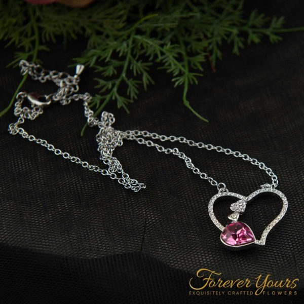 Pink Heart Pendant, silver, Austrian Crystal