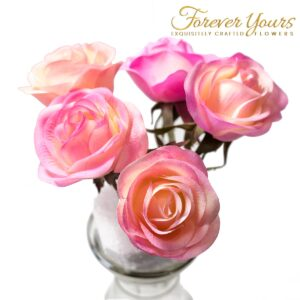 Hand-Painted Pink Real Touch Rose