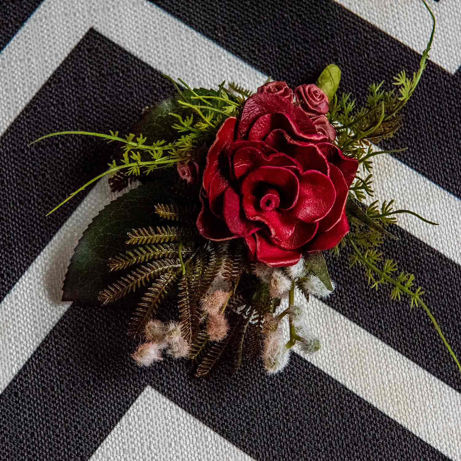 Handmade, hand painted red leather buttonhole