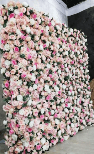 flower wall, roses, artificial flowers, wedding flowers