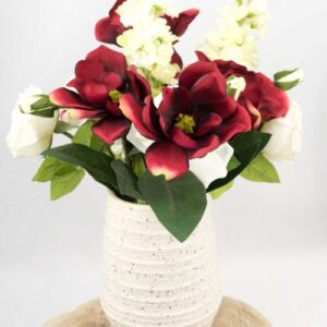 Starr Table Decoration with Ceramic Vase with Magnolias