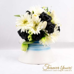 Amazing Blue Stripped Ceramic Vase with Leather Rose Bouquet