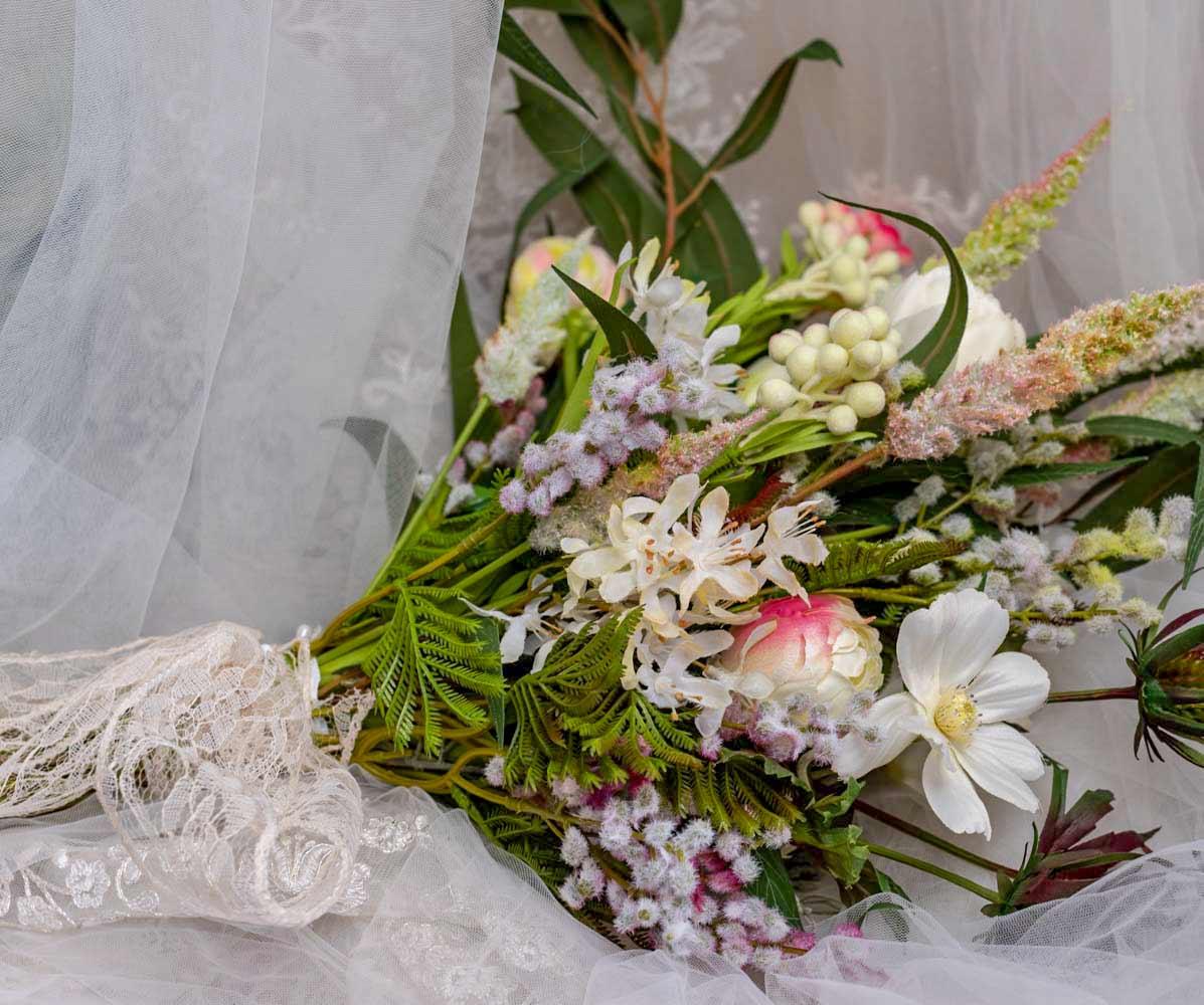 Hand-Tied Artificial Flower Garden Wedding Bouquet