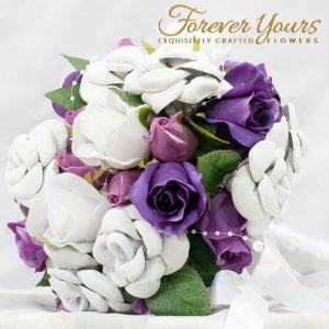 White Leather Bouquet for the Bride artificial wedding flowers, purple and mauve roses