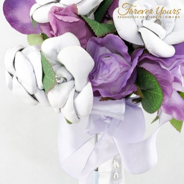 wedding flowers, white roses, purple roses, mauve, silk, artificial