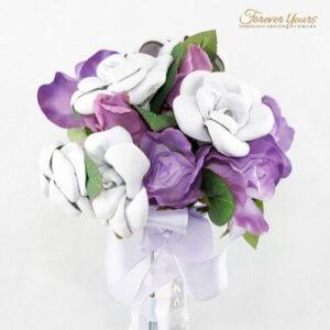 wedding flowers, white roses, purple roses, mauve, silk, artificial