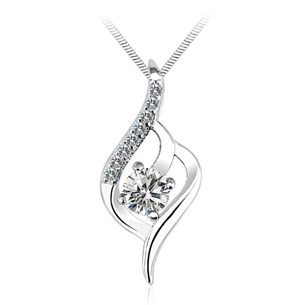 Rhodium Plated Austrian Crystal Necklace, silver, twist design, bride, gift, wedding