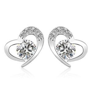 Heart Shaped Earrings, Austrian crystal, sterling silver, wedding, bride, gift