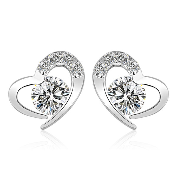 Heart Shaped Earrings, Austrian crystal, sterling silver, wedding, bride, gift