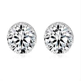 Austrian Crystal Stud earrings, Silver, gift, wedding, sparkle, diamond, solitaire, bride