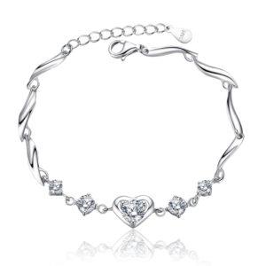 Silver Heart Crystal Bracelet