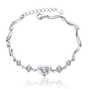 Silver Heart Crystal Bracelet, gift, flower girl,, wedding, bridesmaid, bride