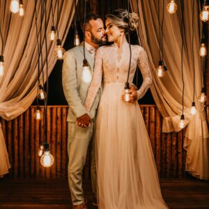 backyard wedding, pendant lights, fairy lights, casual wedding